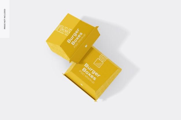 Maquete de burger boxes, fechado