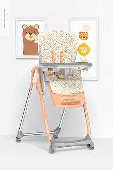 Maquete de cadeira de alimentação de bebê, perspectiva