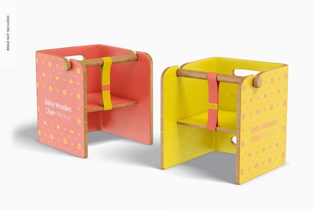 Maquete de cadeiras de madeira para bebês, perspectiva