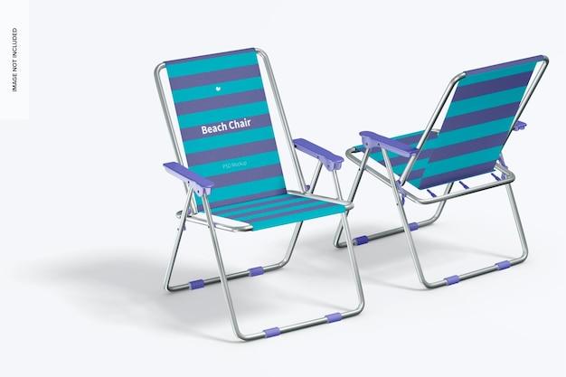 Maquete de cadeiras de praia, perspectiva