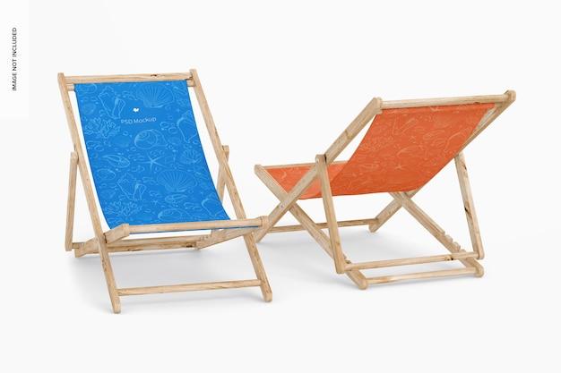 Maquete de cadeiras dobráveis de praia, vista frontal e traseira