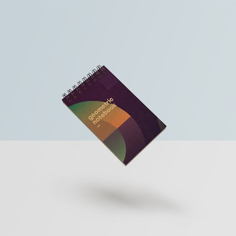 Maquete de caderno lindo em estilo geométrico psd