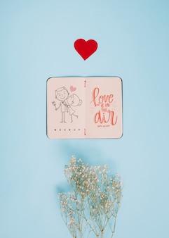 Maquete de caderno para dia dos namorados