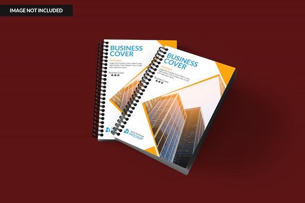 Maquete de caderno realista dois fichário espiral