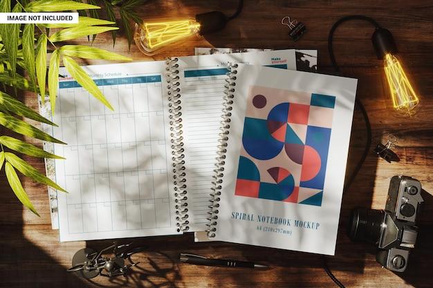 Maquete de cadernos espirais