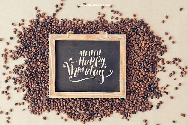 Maquete de café com ardósia em grãos de café