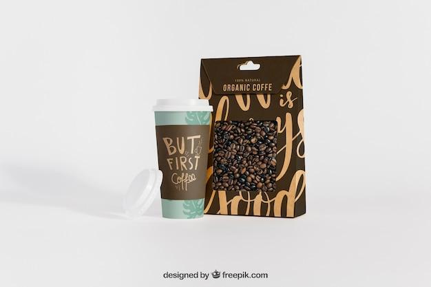 Maquete de café com caixa e caneca
