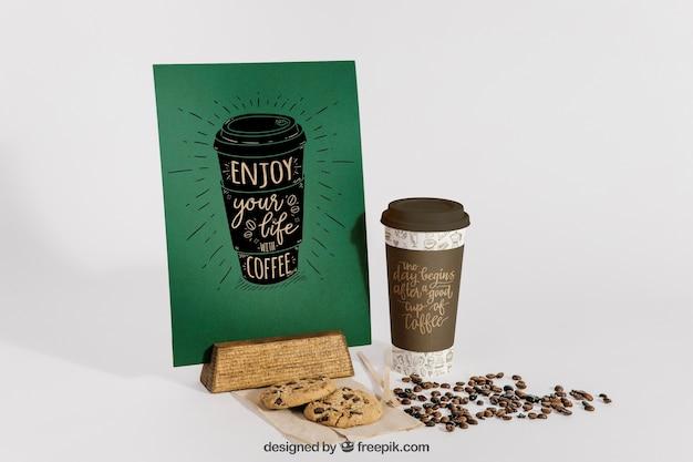 Maquete de café com feijão