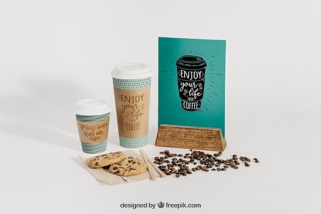 Maquete de café com menu