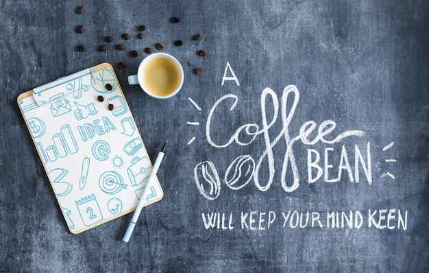 Maquete de café com prancheta
