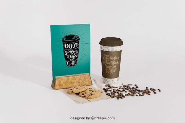 Maquete de café com suporte