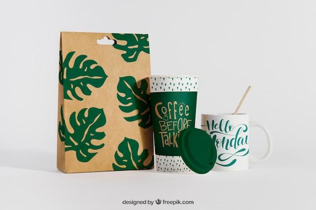 Maquete de café criativa