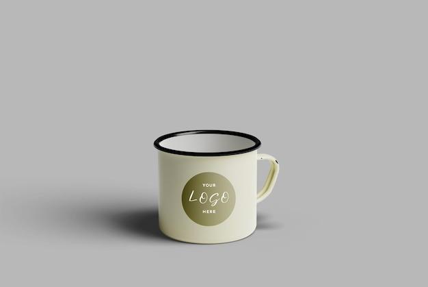 Maquete de café da caneca de esmalte
