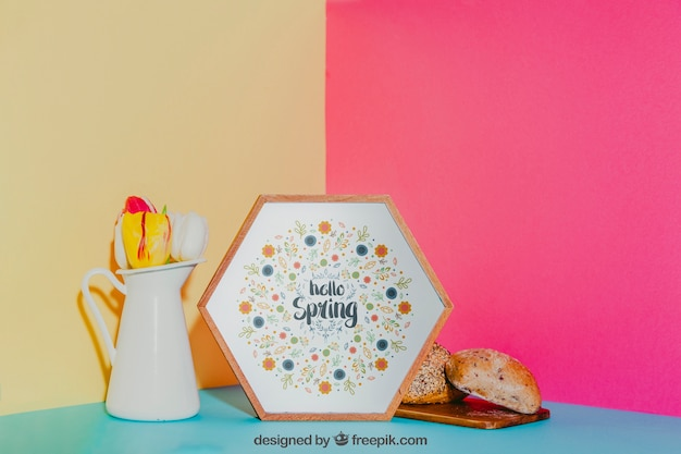 Maquete de café da manhã com armação hexagonal