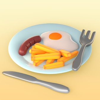 Maquete de café da manhã com ovo frito, linguiça e batata frita