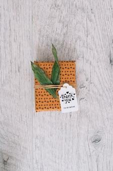 Maquete de caixa atual com folhas