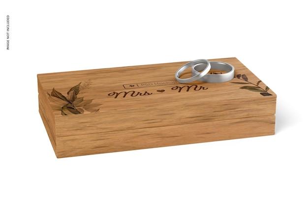 Maquete de caixa de anel de madeira