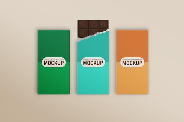 Maquete de caixa de barra de chocolate com três sabores diferentes