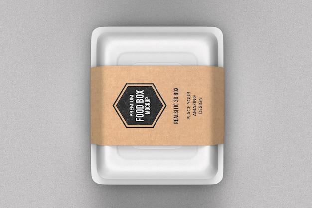 Maquete de caixa de comida branca para entrega