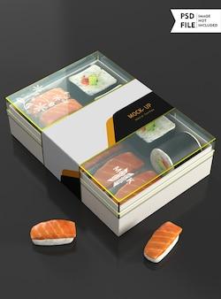 Maquete de caixa de comida transparente
