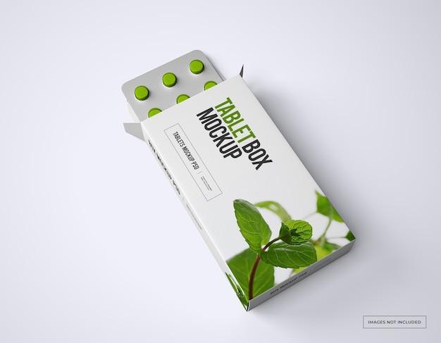Maquete de caixa de comprimidos com pães de comprimidos