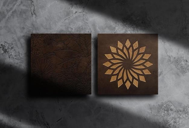 Maquete de caixa de couro de luxo em relevo
