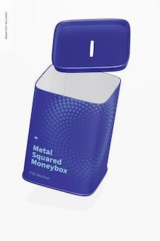 Maquete de caixa de dinheiro quadrada de metal, caindo