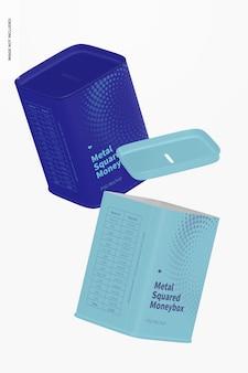 Maquete de caixa de dinheiro quadrada de metal, flutuante