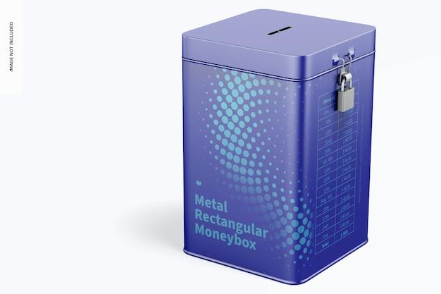 Maquete de caixa de dinheiro retangular de metal Psd grátis
