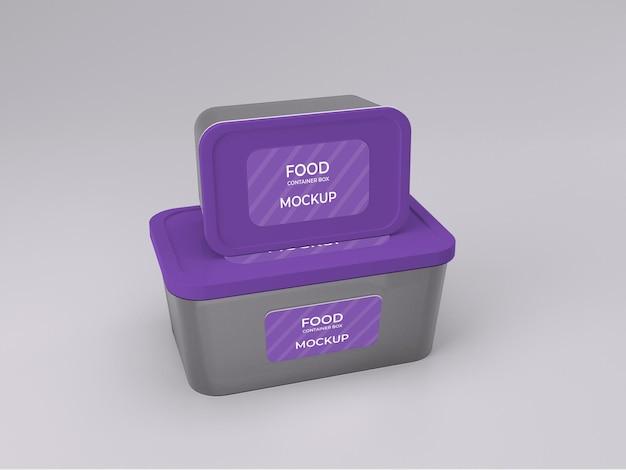 Maquete de caixa de dois recipientes de comida personalizável de qualidade premium