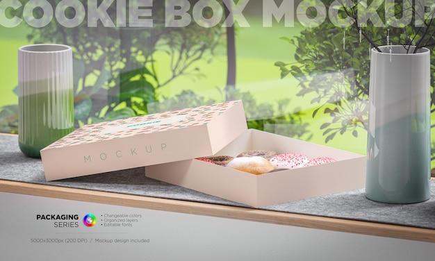 Maquete de caixa de embalagem de padaria em renderização 3d