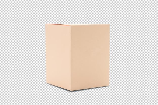 Maquete de caixa de embalagem de produto laranja em branco