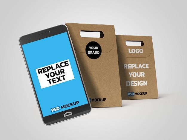 Maquete de caixa de entrega on-line com smartphone