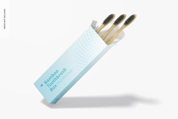 Maquete de caixa de escovas de dente de bambu, inclinada
