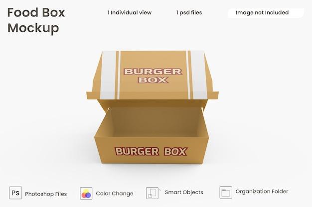 Maquete de caixa de hambúrguer premium psd Psd Premium