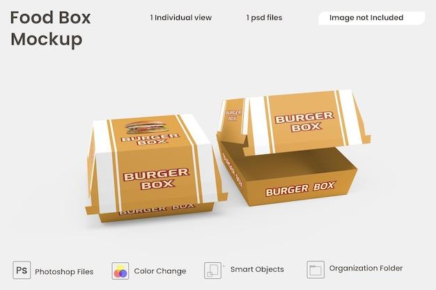 Maquete de caixa de hambúrguer premium psd