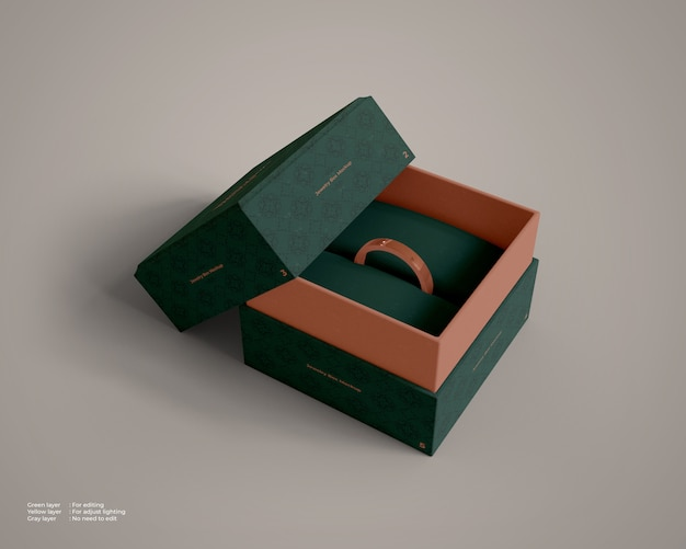 Maquete de caixa de jóias com um anel dentro