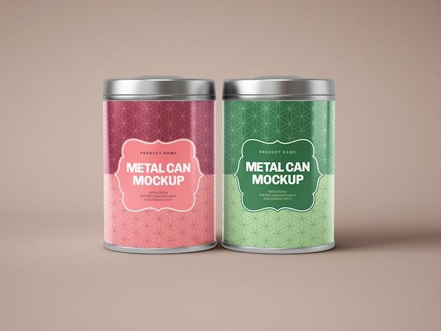 Maquete de caixa de lata de metal brilhante