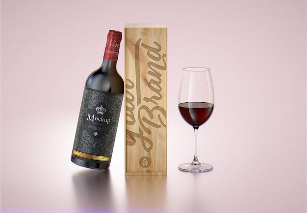 Maquete de caixa de madeira e garrafa de vinho tinto