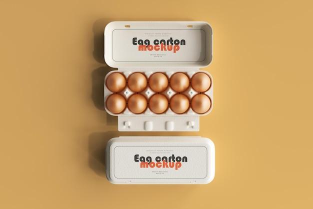 Maquete de caixa de ovo com ovos marrons