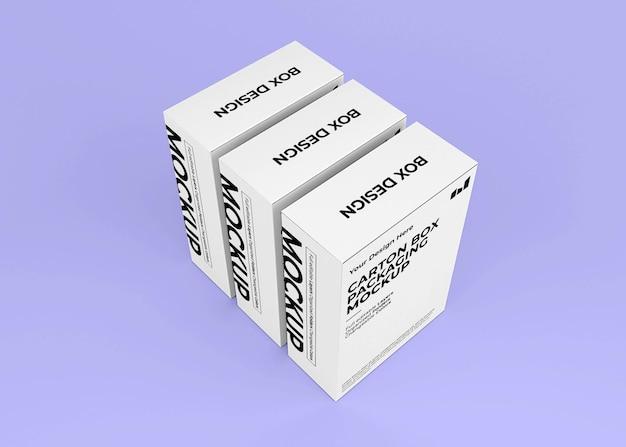 Maquete de caixa de papelão com vista superior para a marca do produto