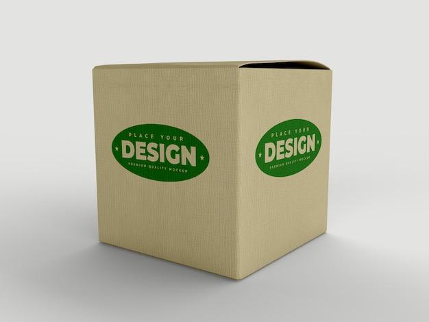 Maquete de caixa de papelão cubo