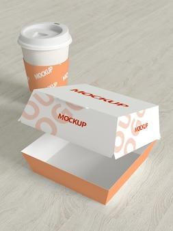 Maquete de caixa de papelão de alimentos
