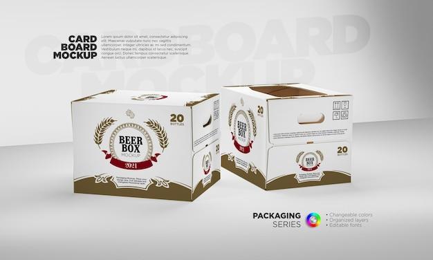 Maquete de caixa de papelão de cerveja em renderização 3d