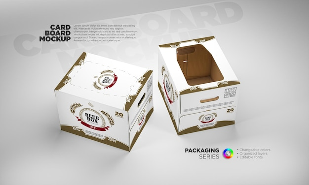 Maquete de caixa de papelão de cerveja