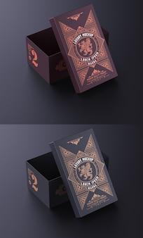 Maquete de caixa de papelão de luxo isolada
