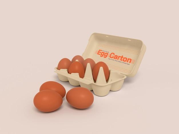 Maquete de caixa de papelão de ovo