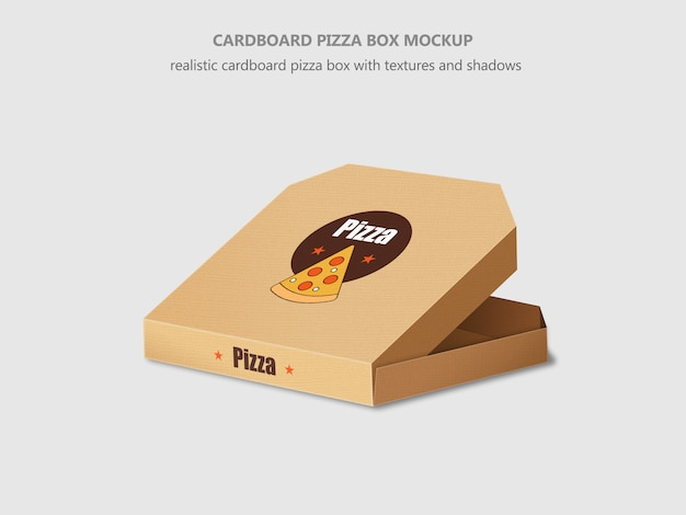Maquete de caixa de papelão isométrica realista de pizza