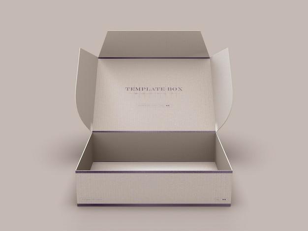 Maquete de caixa de papelão retangular aberta