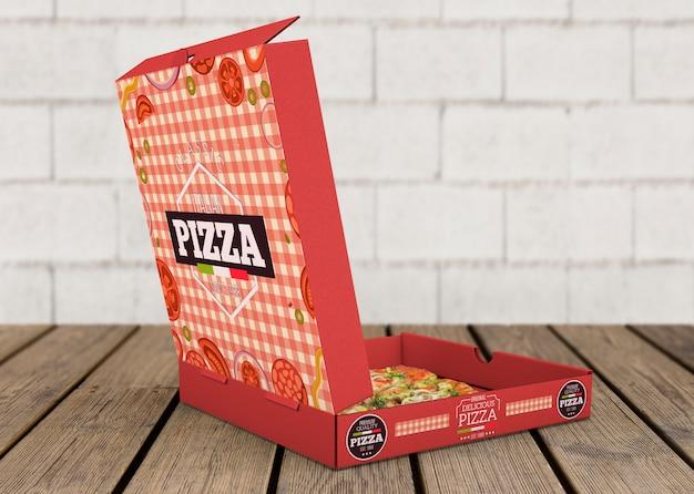 Maquete de caixa de pizza aberta
